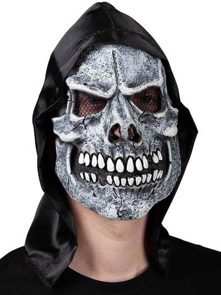 Adult Skeleton Reaper Mask With Hood