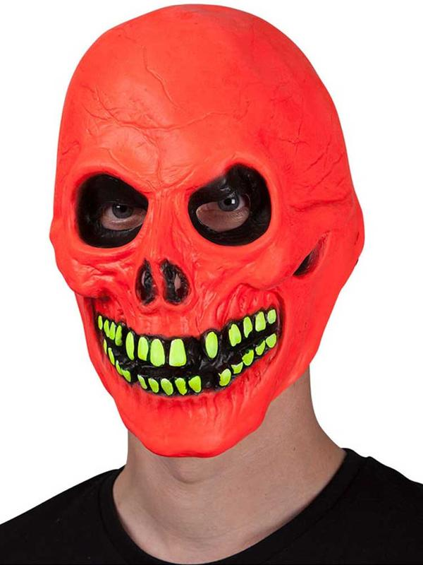 Adult U.V Neon Red Skull Mask