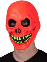Adult U.V Neon Red Skull Mask