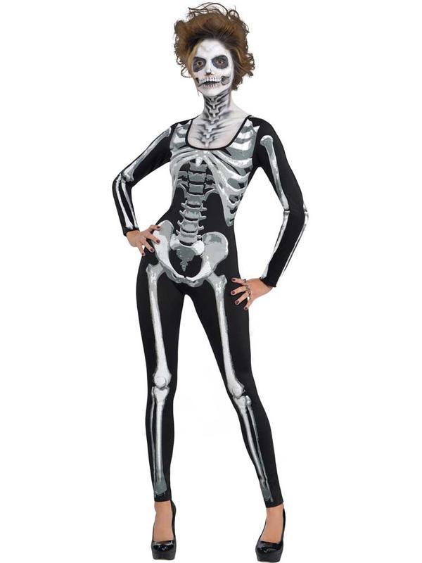 Adult Ladies Black & Bone Catsuit Costume