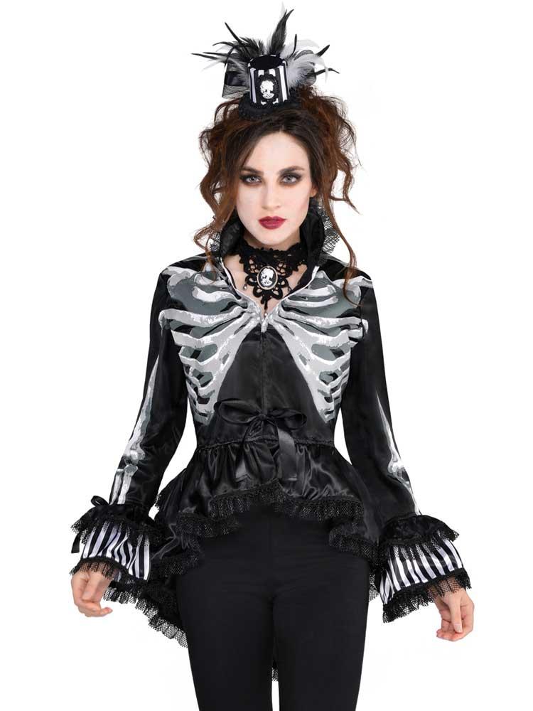 Adult Ladies Black & Bone Jacket Gothic