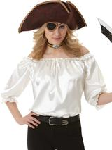 Adult Ladies Pirate Blouse Ivory