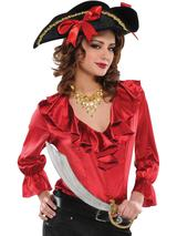 Adult Ladies Pirate Blouse Red