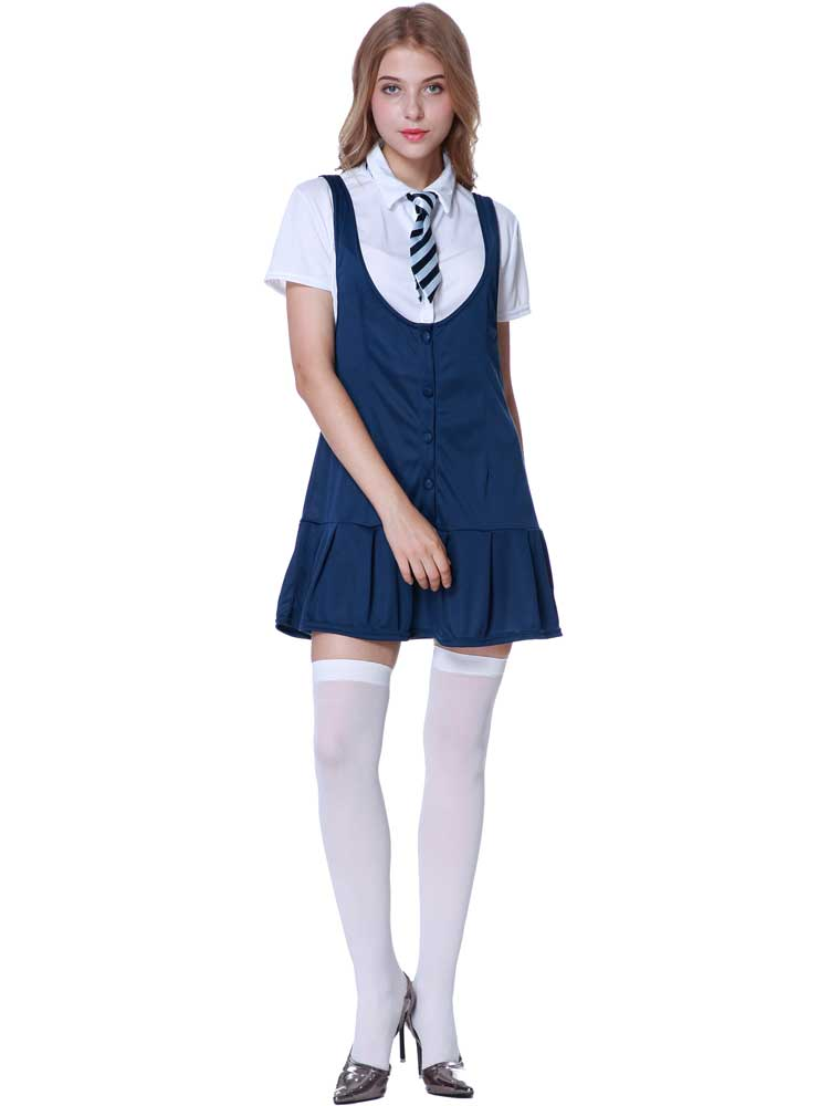 Ladies Sexy School Girl Fancy Dress Costumestockings St -1106