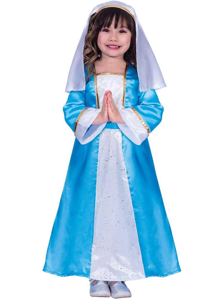 Girls 4-12 Years Mary Nativity Christmas Dress up Costume Kids Costume
