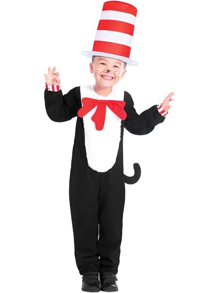 CA1077 Adult Deluxe Cat In The Hat Jumpsuit Dr Seuss Teacher Costume Book Week