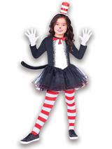 Child Girls Cat In The Hat Costume