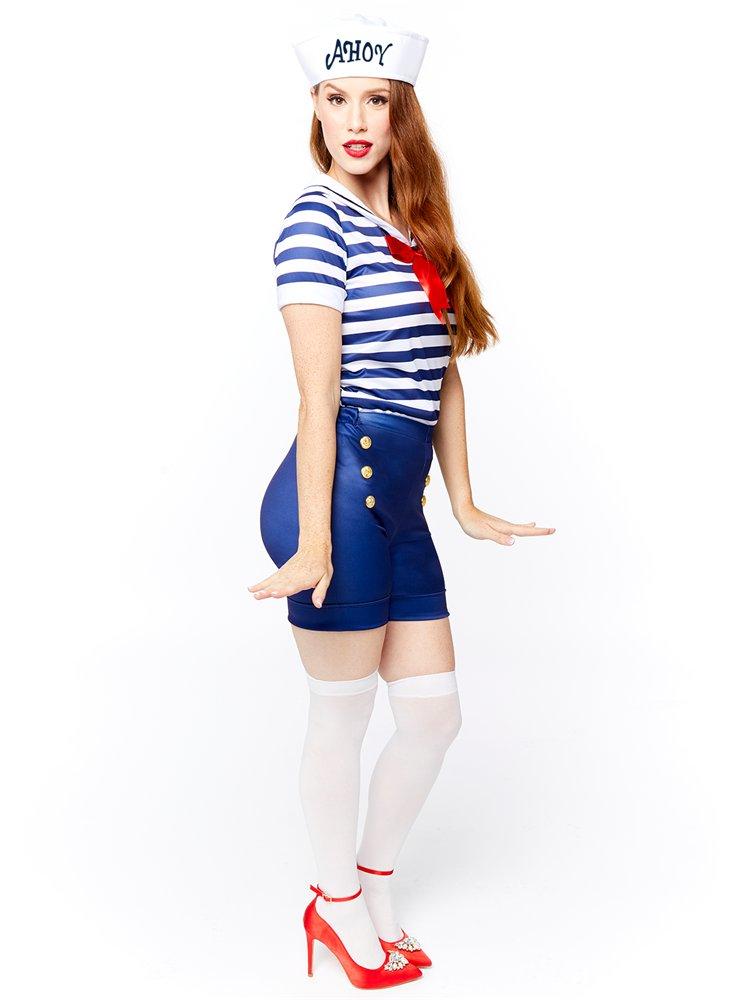 Adults-Ahoy-Sailor-Fancy-Dress-Costume-Hat-Uniform-Seas-Ladies-Womens-Military thumbnail 9