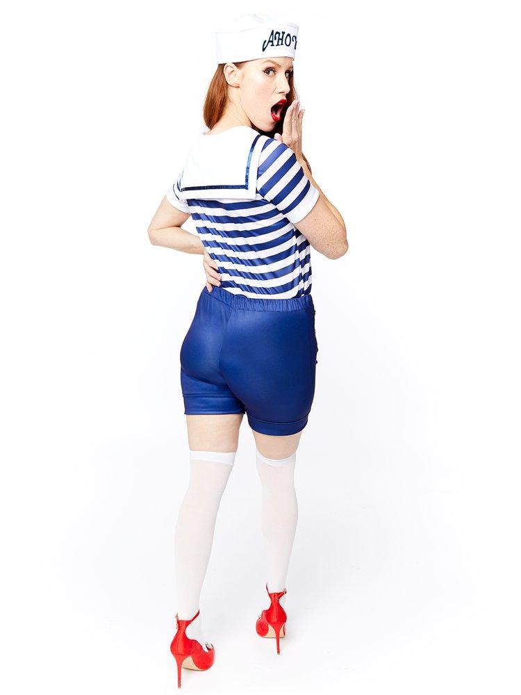 Adults-Ahoy-Sailor-Fancy-Dress-Costume-Hat-Uniform-Seas-Ladies-Womens-Military thumbnail 6