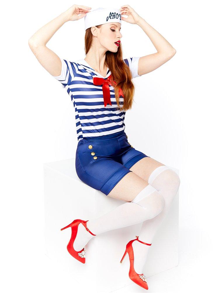 Adults-Ahoy-Sailor-Fancy-Dress-Costume-Hat-Uniform-Seas-Ladies-Womens-Military thumbnail 7