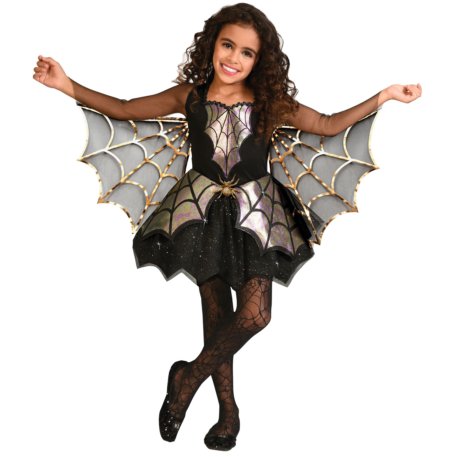 Girls Spider Costume Childs Halloween Fancy Dress Kids Bat Vampire