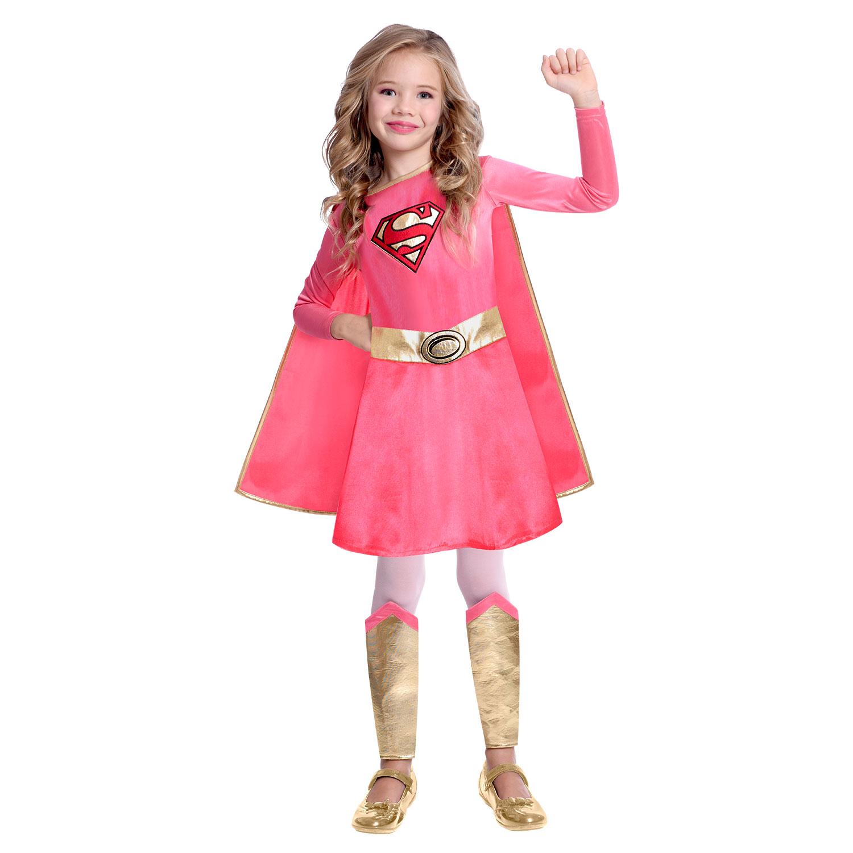 Rose Supergirl Tutu Costume Robe M fille 8-10 Enfant Halloween Super-Héros NEUF