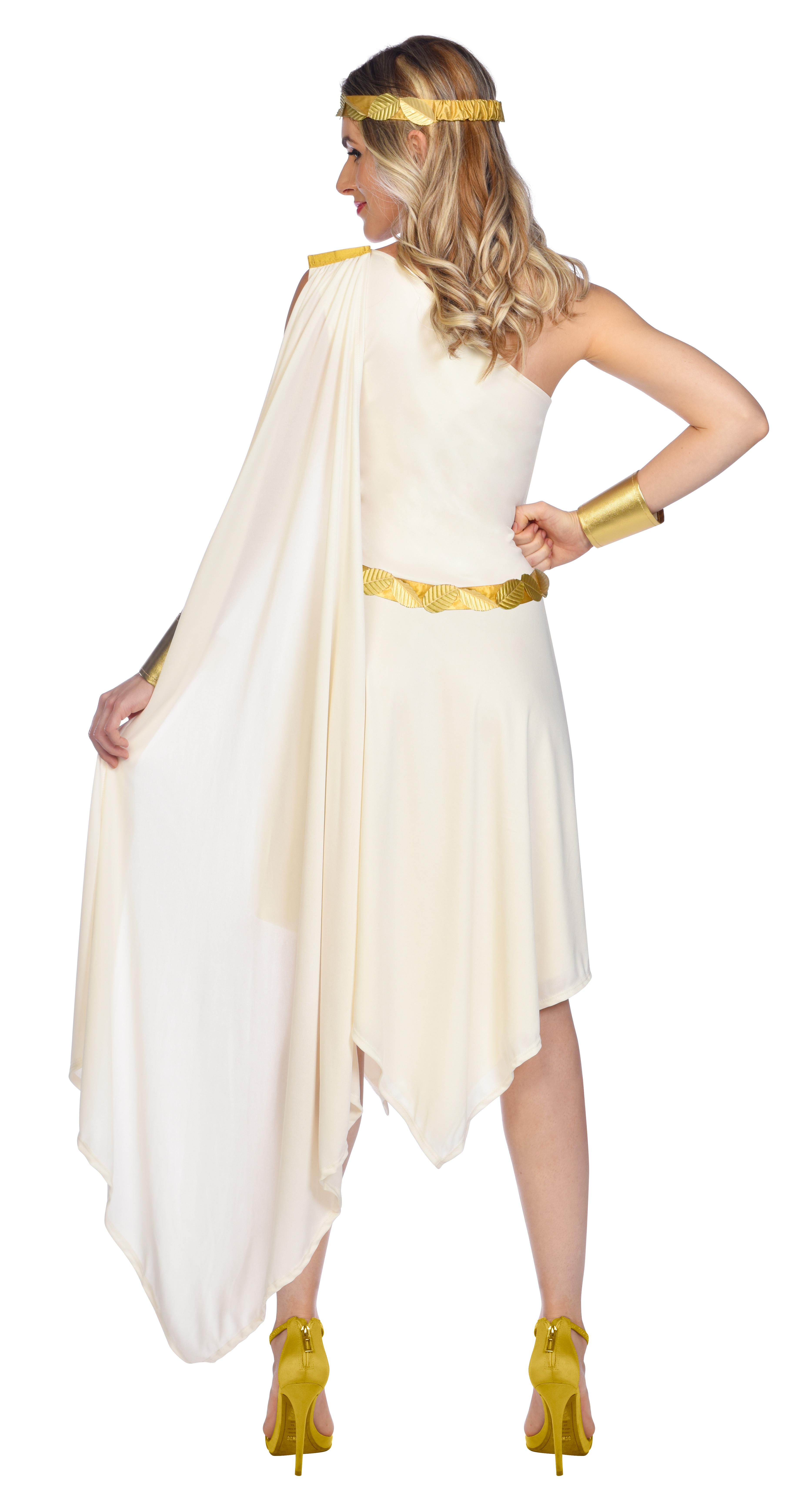 Indexbild 24 - Adult Ladies Golden Goddess Gladiator Greek Roman Toga Fancy Dress Costume New