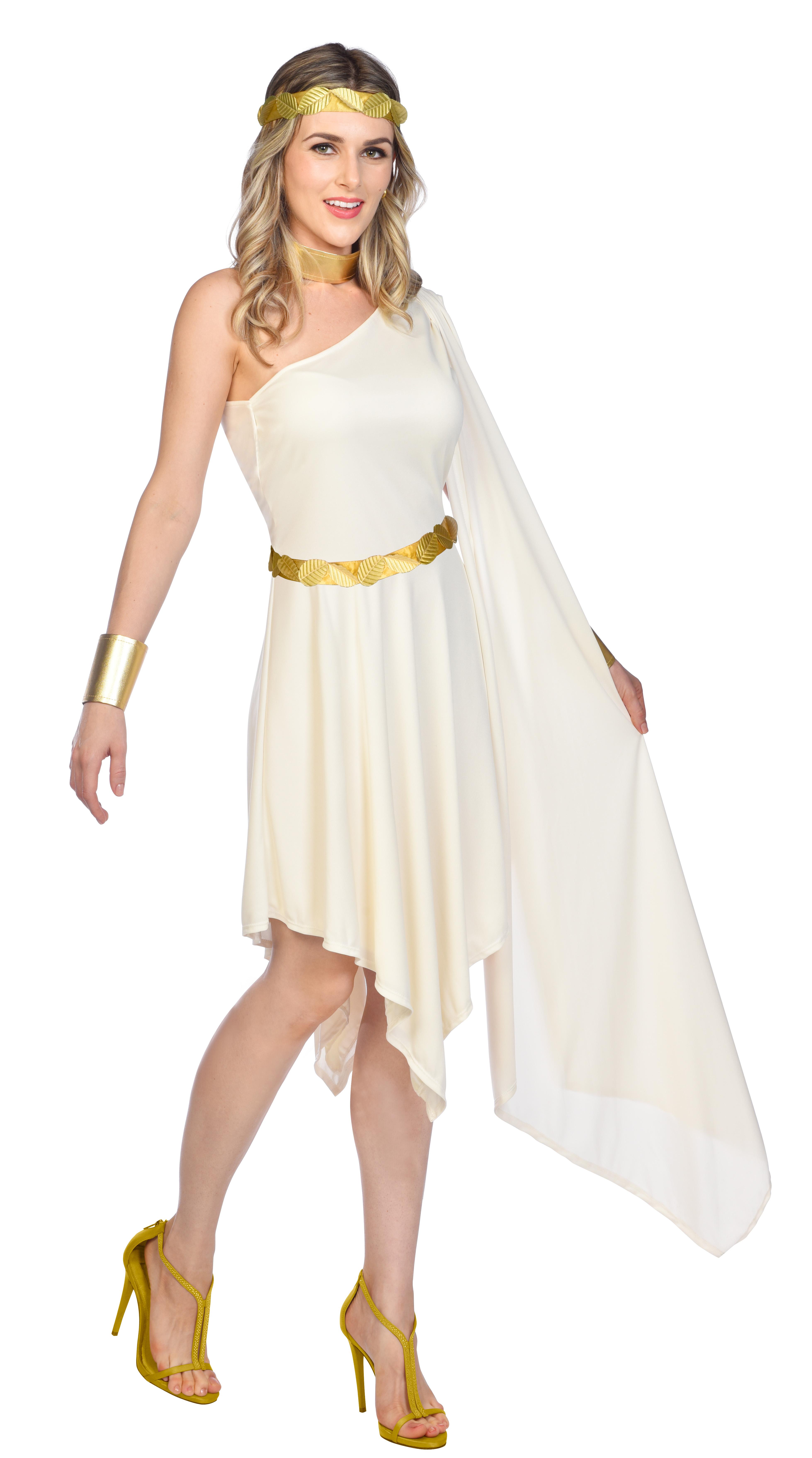 Indexbild 19 - Adult Ladies Golden Goddess Gladiator Greek Roman Toga Fancy Dress Costume New