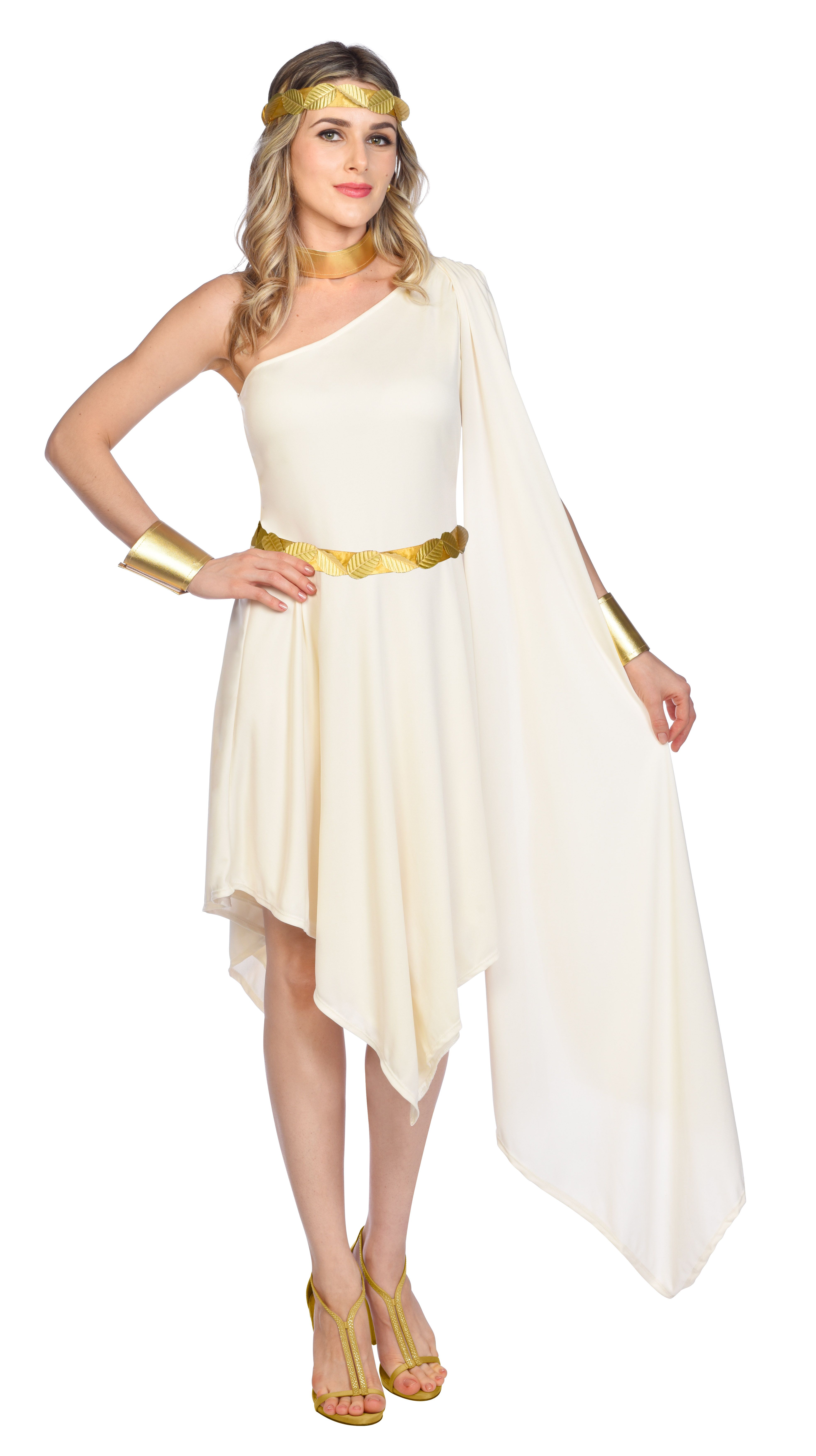 Indexbild 17 - Adult Ladies Golden Goddess Gladiator Greek Roman Toga Fancy Dress Costume New