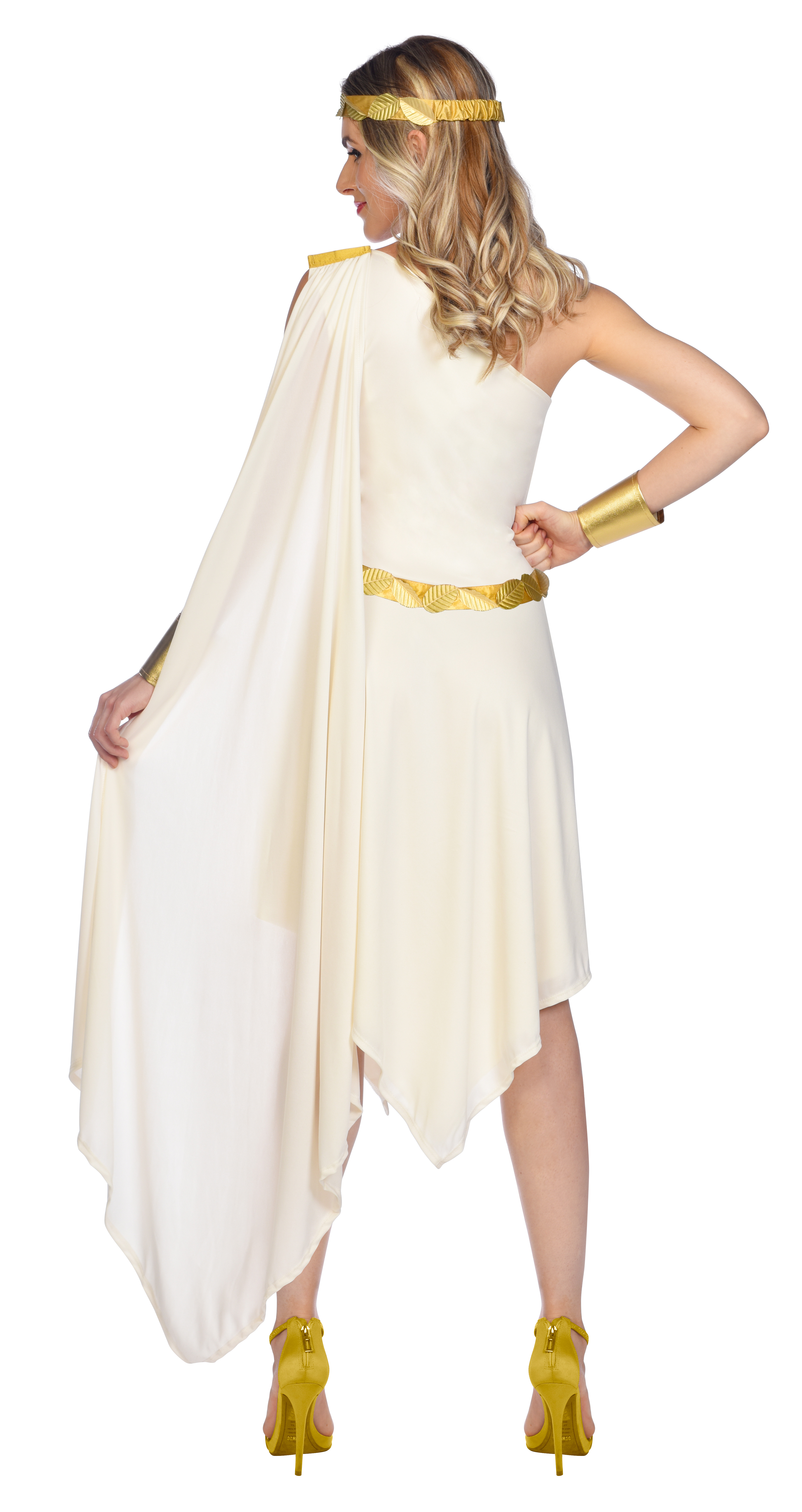 Indexbild 10 - Adult Ladies Golden Goddess Gladiator Greek Roman Toga Fancy Dress Costume New