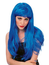 Blue Long Glamour Wig