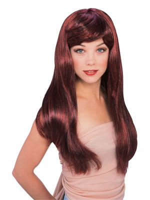 Red Black Long Glamour Wig