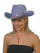 Adult Ladies Deluxe Lilac Sequin Cowgirl Hat