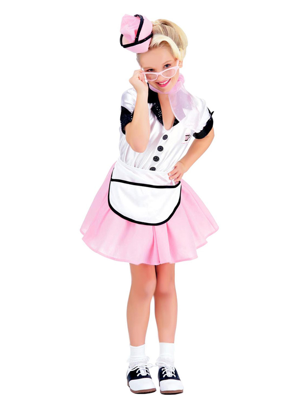 Child-Soda-Pop-Girl-Retro-Fancy-Dress-Costume-  sc 1 st  eBay & Child Soda Pop Girl Retro Fancy Dress Costume 50s Waitress Kids ...
