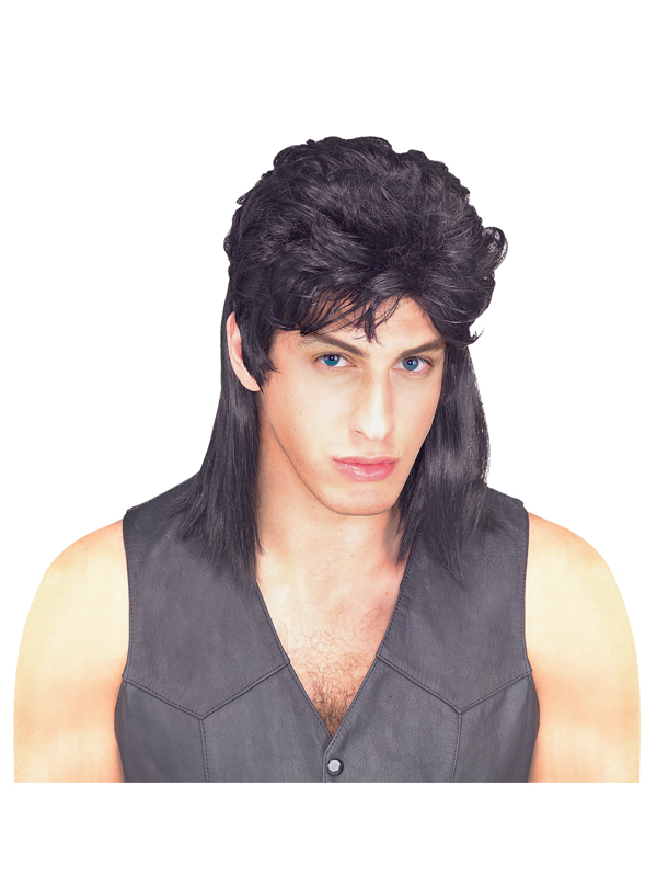 Adult Mens Black Mullet Wig