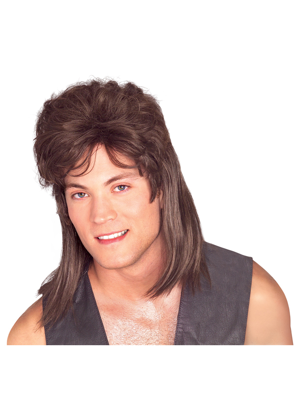Adult Brown Mullet Wig