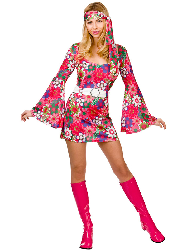 4dd54ee7ab1 Ladies 60s 70s Retro Go Go Girl Hippy Hippie Mini Fancy Dress ...