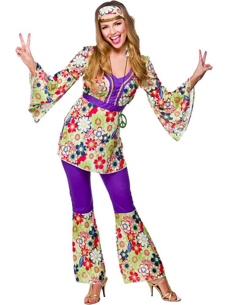 Adult GROOVY HIPPIE Fancy Dress Flower Power 60s Hippy Lady Costume 1970s Oufit