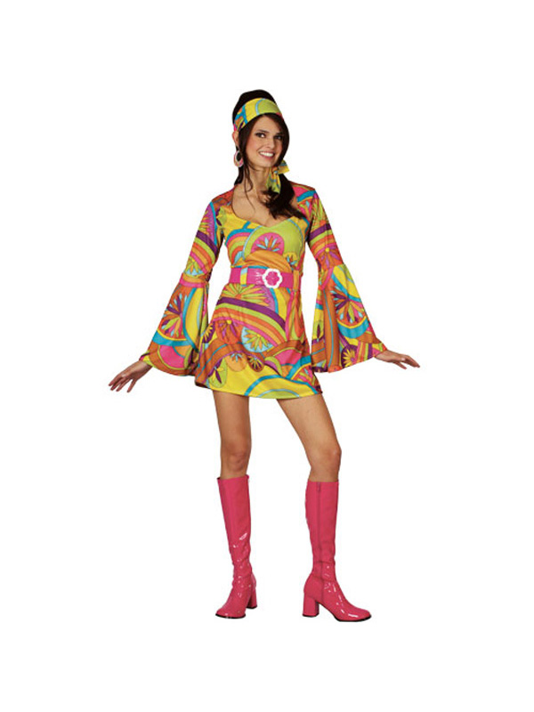 retro go go girl 60s 70s fancy dress ladies psychedelic