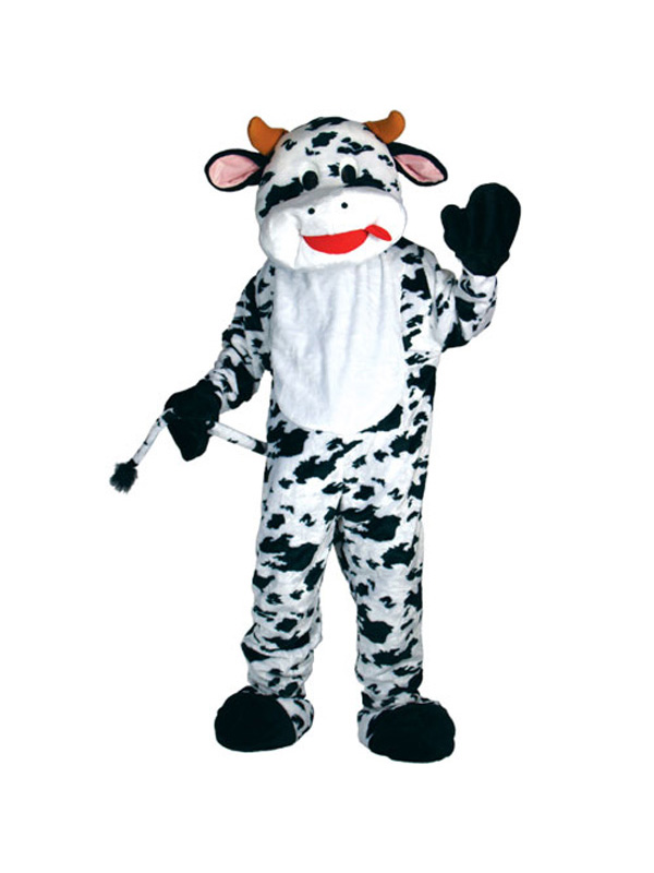 Men's Giant Cow Mascot Jumpsuit Costume