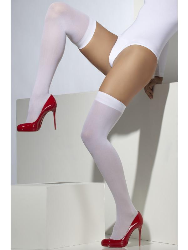 Adult Ladies Sexy Knee High Stockings, White Thumbnail 1