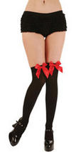 Black Thigh High Stockings With Red Bow