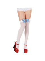 White Thigh High Stockings with Blue Bow
