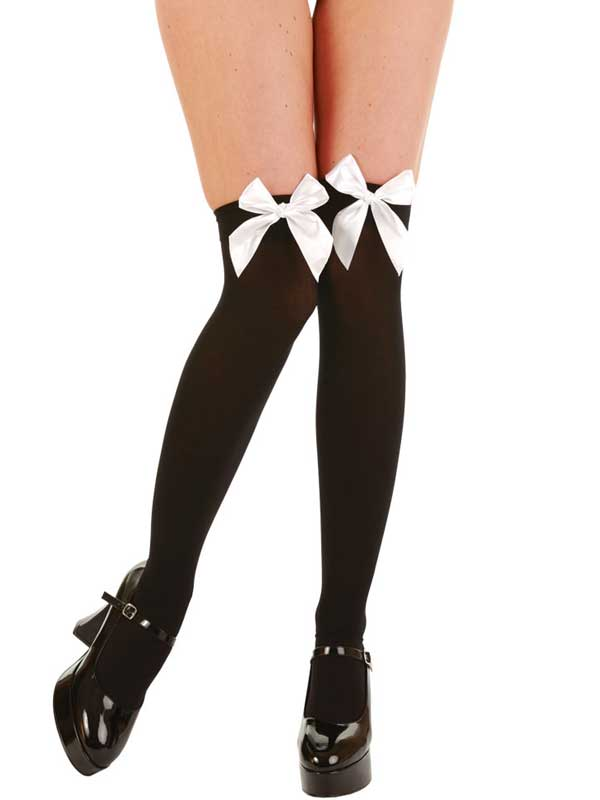 Black Thigh High Stockings With White Bow