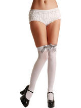 White Thigh High Stockings With Black Gingham Bow