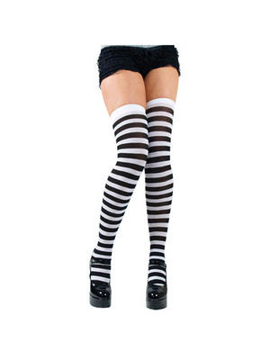 Black White Candy Stripe Thigh High Stockings