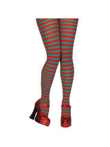 Ladies Red and Green Candy-striped Tights