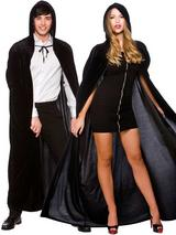 Velvet Hooded Cape Widow'S Robe Costume