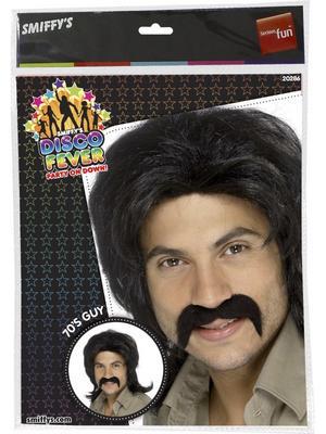 Men's 70s Disco Fever Wig - Black Thumbnail 2
