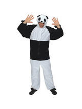 Men's Black White Panda Bear Jumpsuit Costume