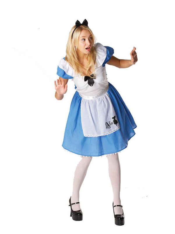 Adult Female Alice Wonderland Fancy Dress Dressing Up Outfit Costume Hen Do NEW