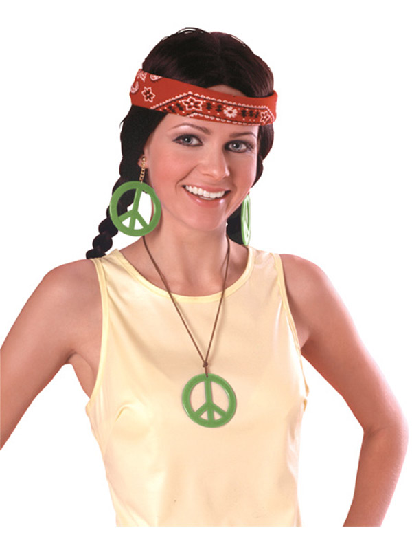 Peace Pendant And Earrings Hippy Set
