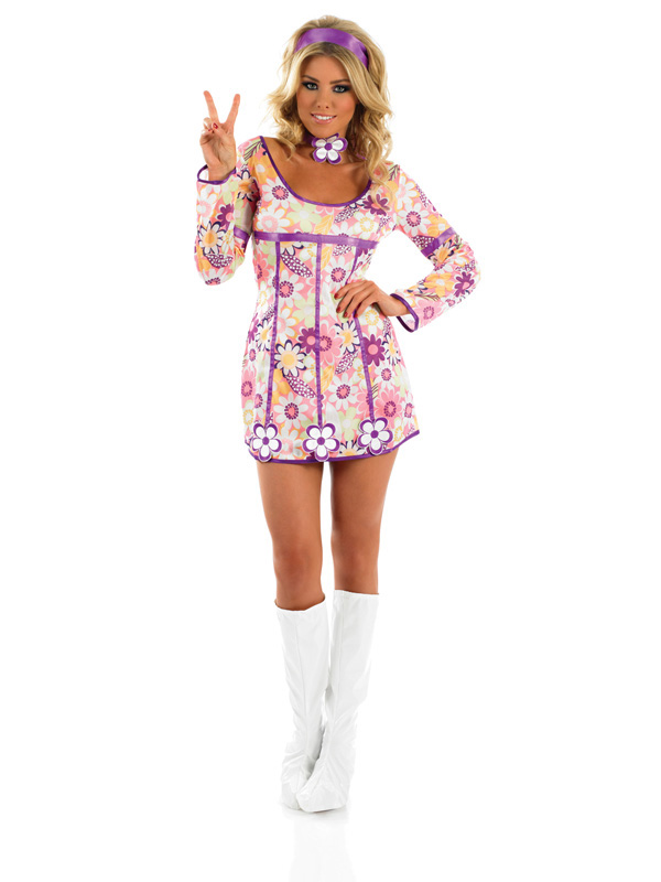 Ladies 60s Sexy Hippie Outfit Plymouth Fancy Dress