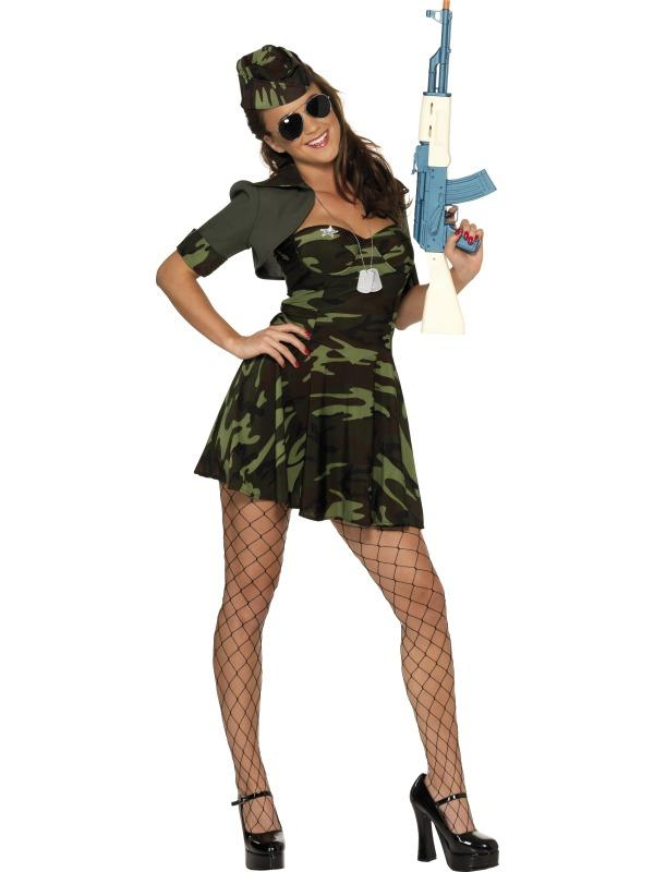 Adult Ladies Sexy Military Babe Costume Thumbnail 1