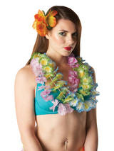 Green White Yellow Hawaiian Flower Lei