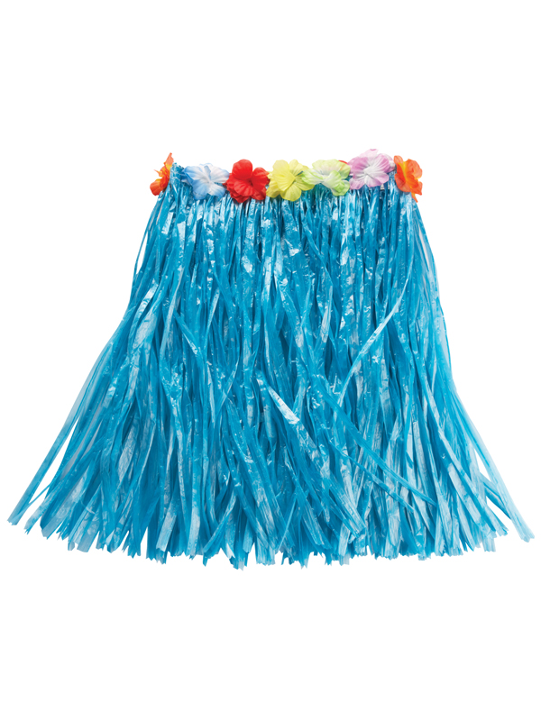 Blue Hawaiian Grass Skirt With Flowers
