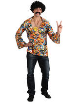 Men's 1960s Groovy Hippie Shirt And Medallion