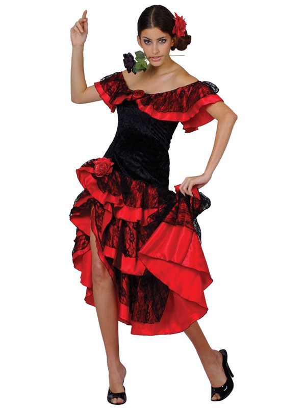 a2a32ff48 Sentinel Adult Ladies Spanish Senorita Fancy Dress Flamenco Dancer Costume  UK Sizes 6-24