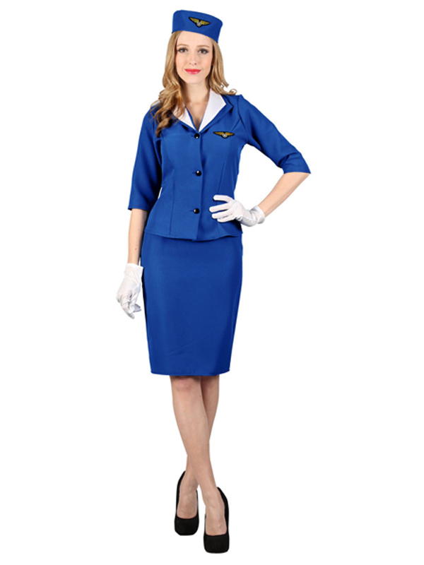 Ladies Blue Air Hostess Costume