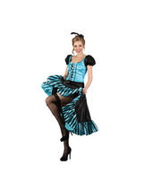 Ladies Black Blue Ribbon Lace Burlesque Costume